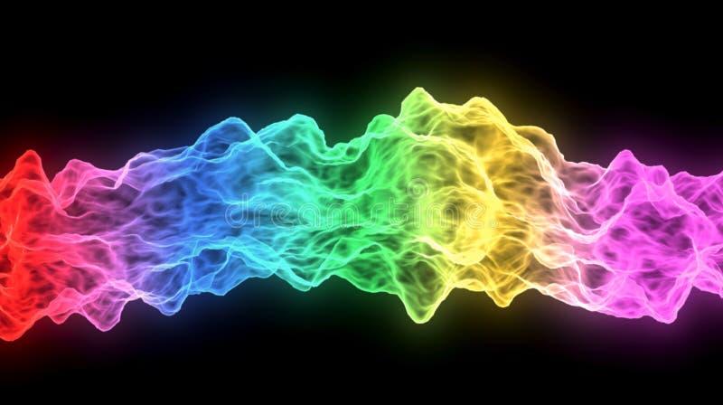 Multicolored brandlijn op zwarte achtergrond het 3d teruggeven stock illustratie