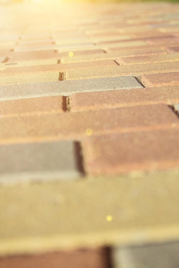 Multicolored Bricked Pathway from Low Angle Perspective with Slightly Tilted Horizon in Golden Sunlight Flare. Life Way Choice. Destiny Harmony Challange royalty free stock image