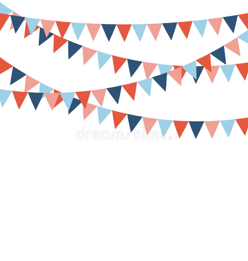 Multicolored bright buntings flags garlands isolated on white royalty free illustration