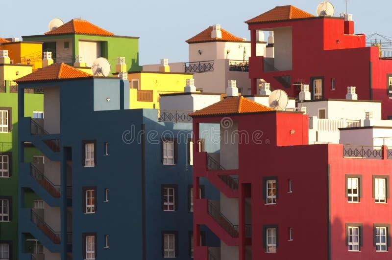 Multicolored buildings in Praya de las Americas Tenerife Canary stock photos