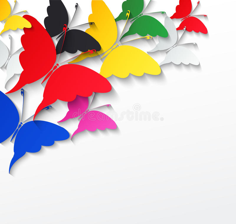 Multicolored Butterflies On A White Background Stock Vector