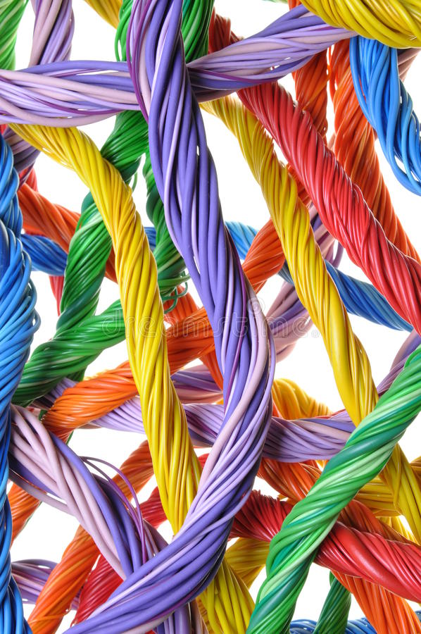 Multicolored cables, abstract global system of connections