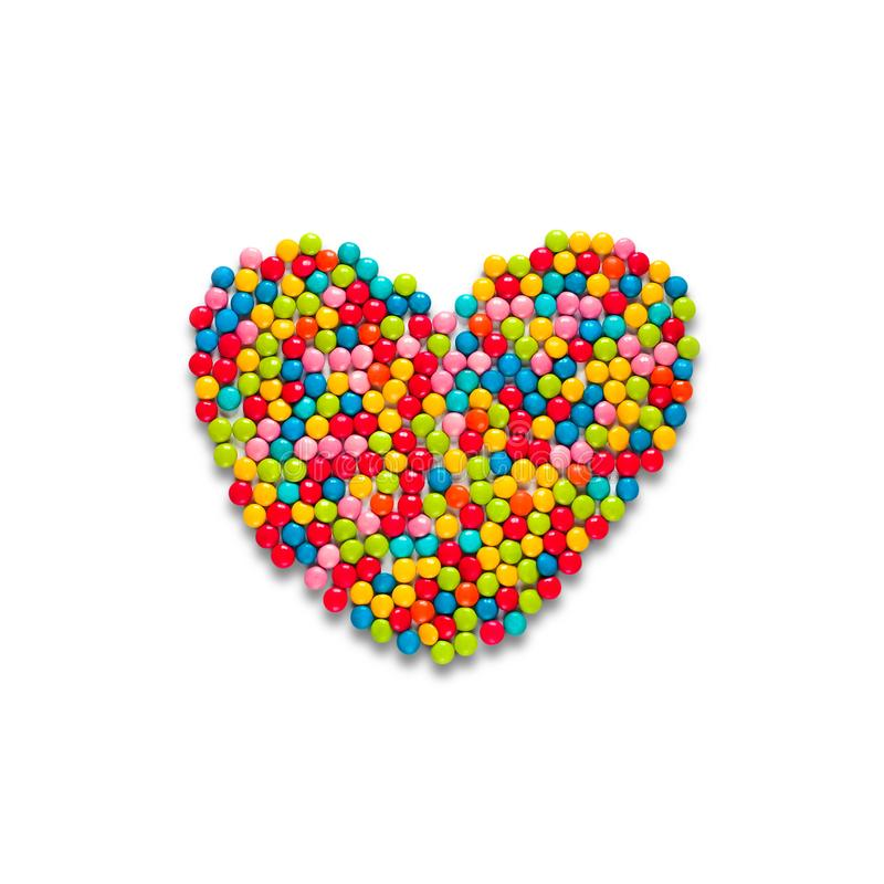 Multicolored candy dragees heart royalty free stock images
