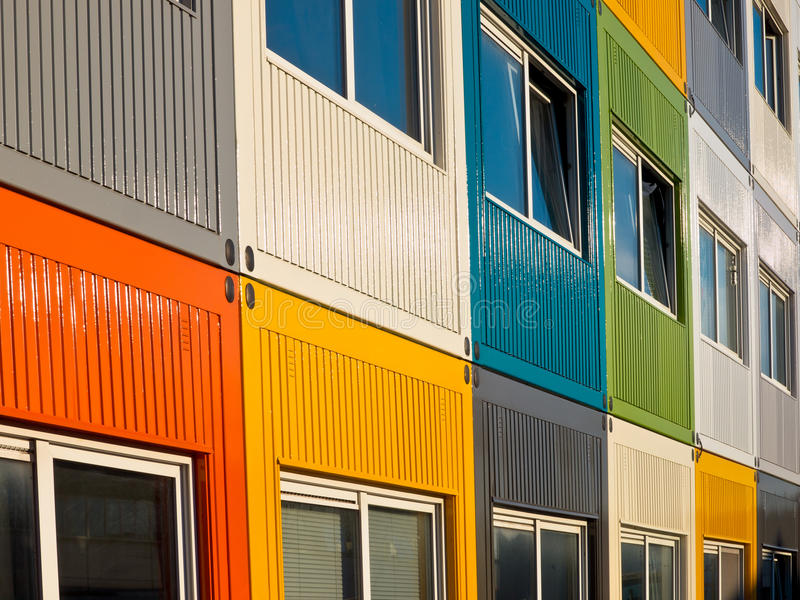 Multicolored cargo containers. Used for housing stock photos