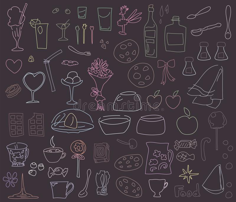 Multicolored chalk drawings on a blackboard food, dishes, desserts isolated on white background set royalty free illustration