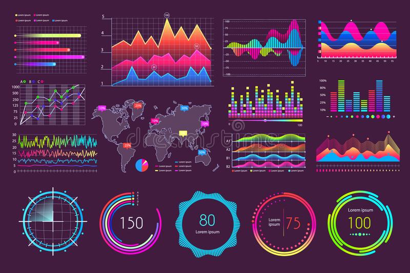 Multicolored Charts and Various Diagrams Icons. Isolated on dark background vector illustration, statistical data visualization in different graphs set vector illustration