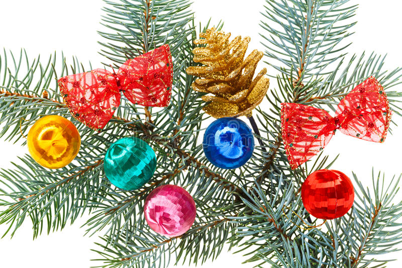 Download Multicolored Christmas Balls, Bows And Cone Stock Photo - Image of branch, celebration: 27520080