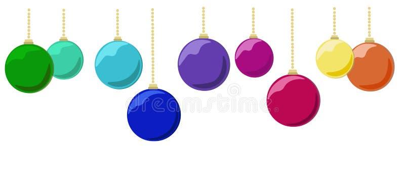 Multicolored christmas festive glass balls on white background stock illustration