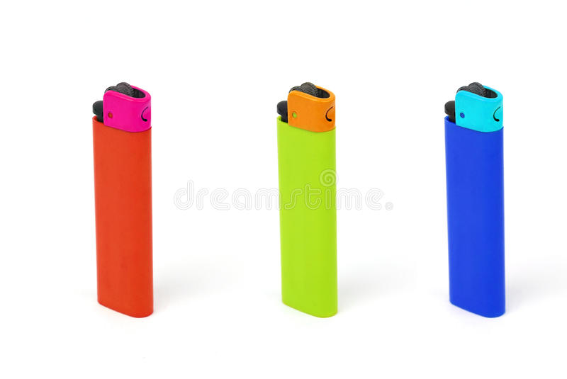 Multicolored Cigarette Lighters stock photo