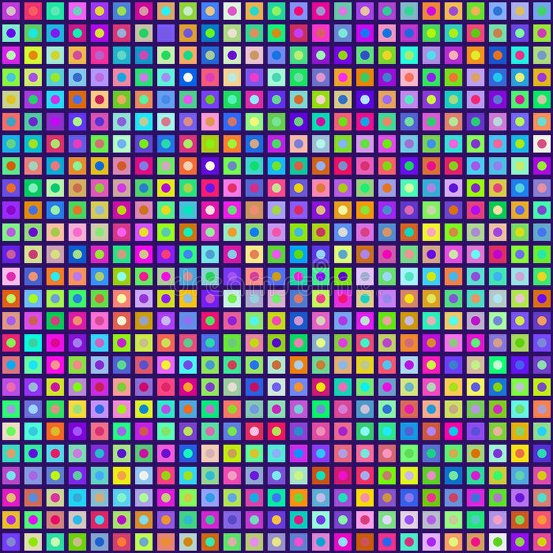 Multicolored Circles Inside Squares Seamless Background. EPS8 Vector. Colors are randomly assigned. EPS8 Vector with no transparency vector illustration