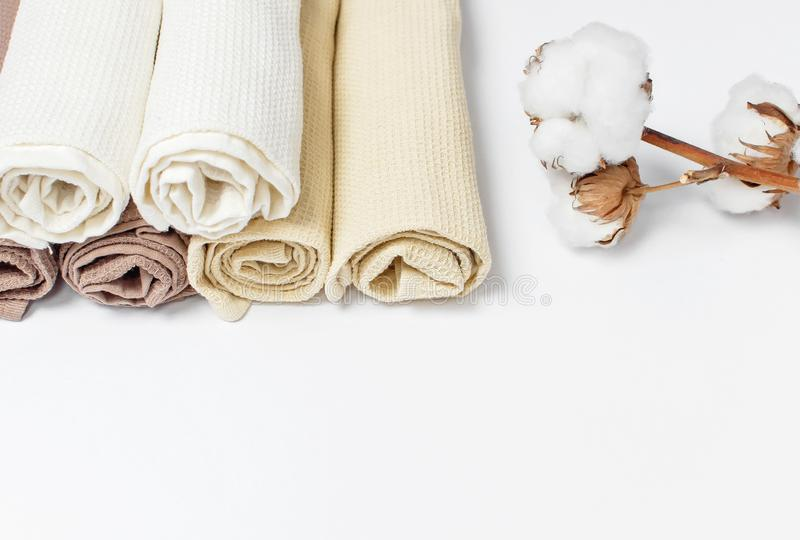 Multicolored clean towels with a branch of cotton on a white background top view with copy space. Texture of cotton, waffle towel,. Textiles. Towels for kitchen royalty free stock images