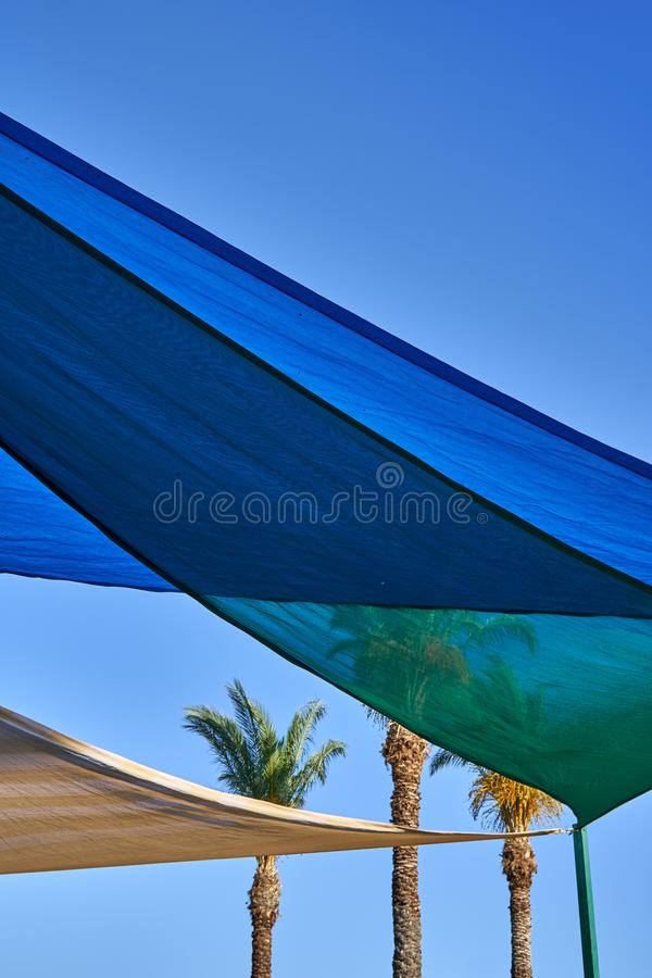 Cloth canopy from the sun stock images