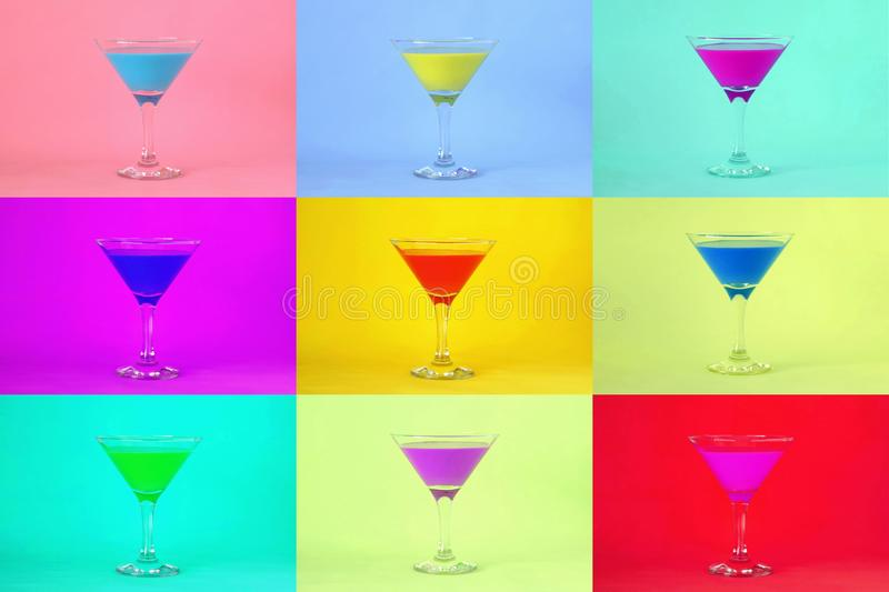 Multicolored cocktails Cocktail partyachtergrond royalty-vrije stock afbeelding
