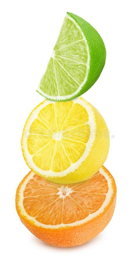 Multicolored composition with slices of citrus fruits - orange, lemon and lime isolated on a white background. stock images