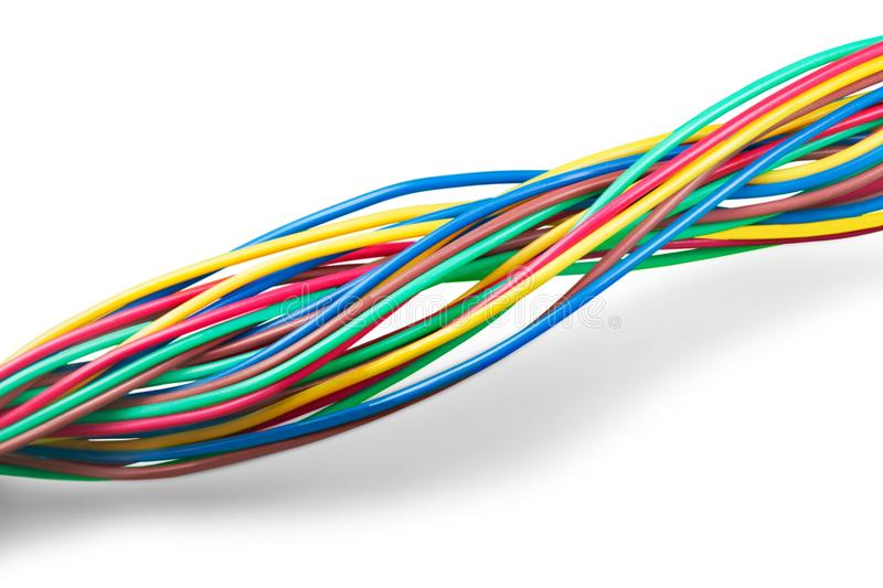 Multicolored computer cables isolated on white stock photo