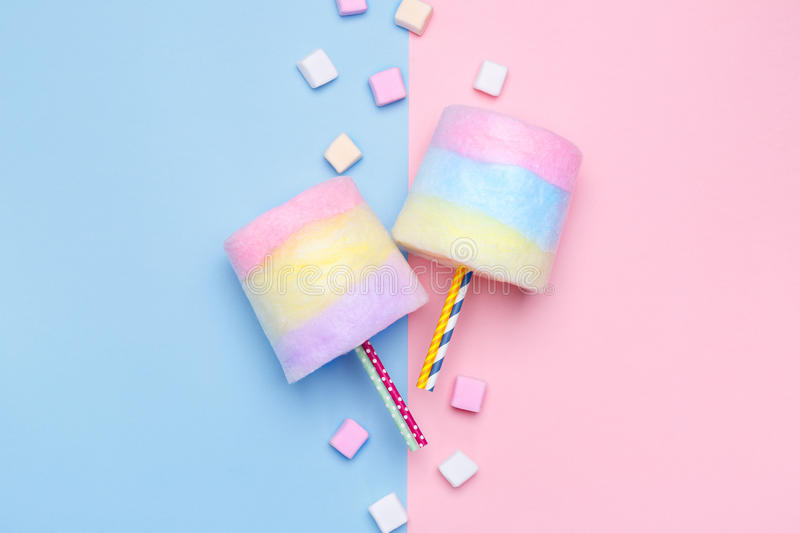 Multicolored Cotton candy. Pastel marshmallows. Minimal style. Pastel background royalty free stock photo