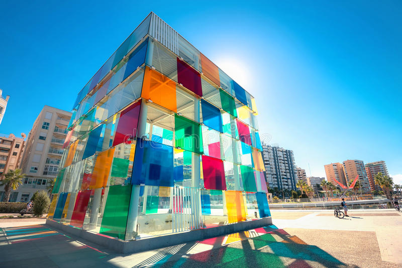 Multicolored cube of contemporary museum Pompidou centre in Malaga, Andalusia, Spain royalty free stock photo