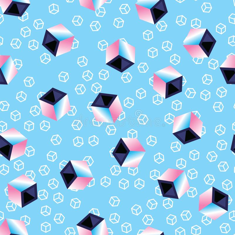 Multicolored 3D cubes on blue pattern background. Seamless pattern geometric cubes, retro style. 80s style abstract vector illustration
