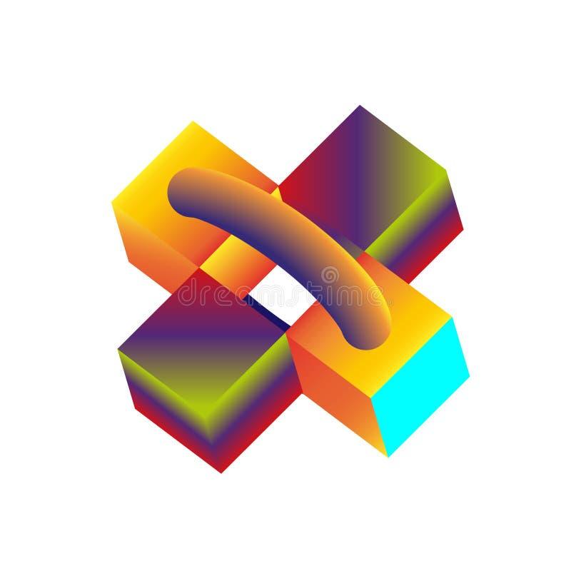 Multicolored decoratieve dozen, kubussen Abstracte 3d illustratie royalty-vrije illustratie