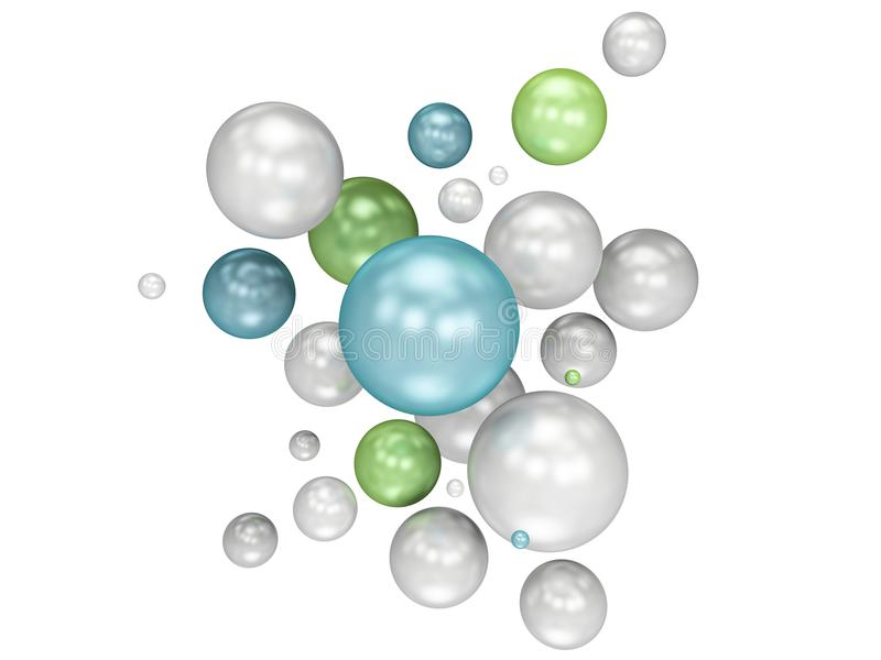 Multicolored decorative balls. Abstract 3d illustration. isolated white stock illustration