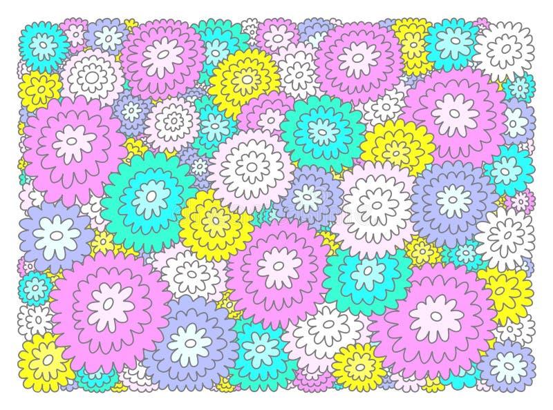 Multicolored decorative flowers on white background stock illustration
