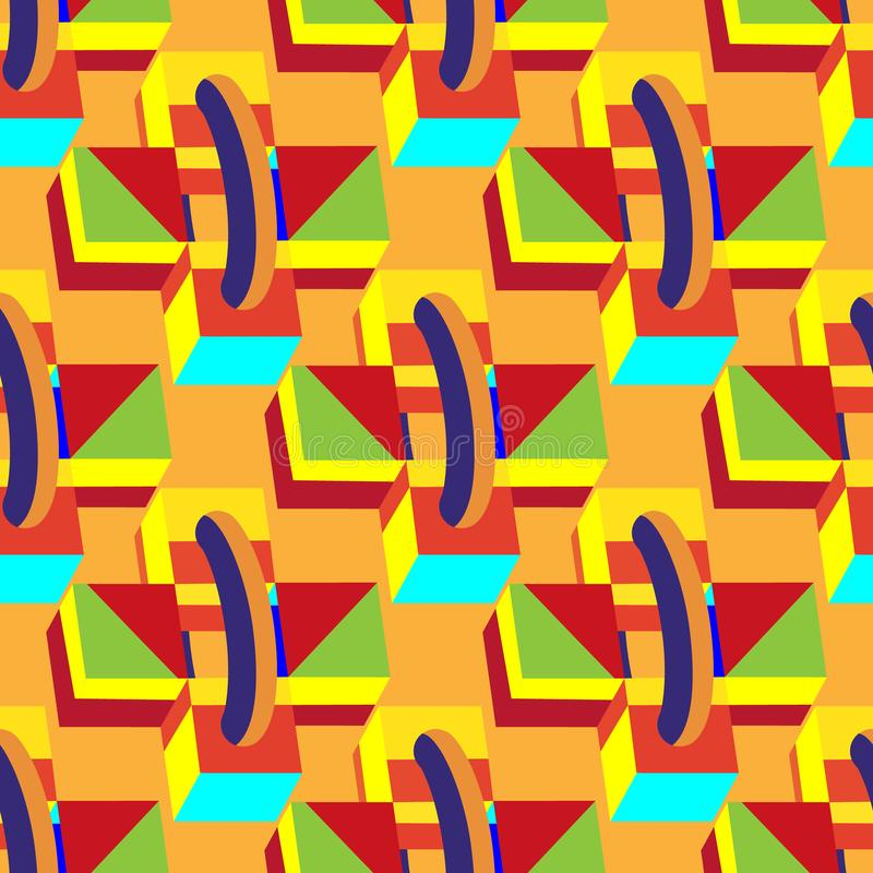 Multicolored decorative seamless boxes, cubes on orange background. Abstract 3d vector illustration royalty free illustration
