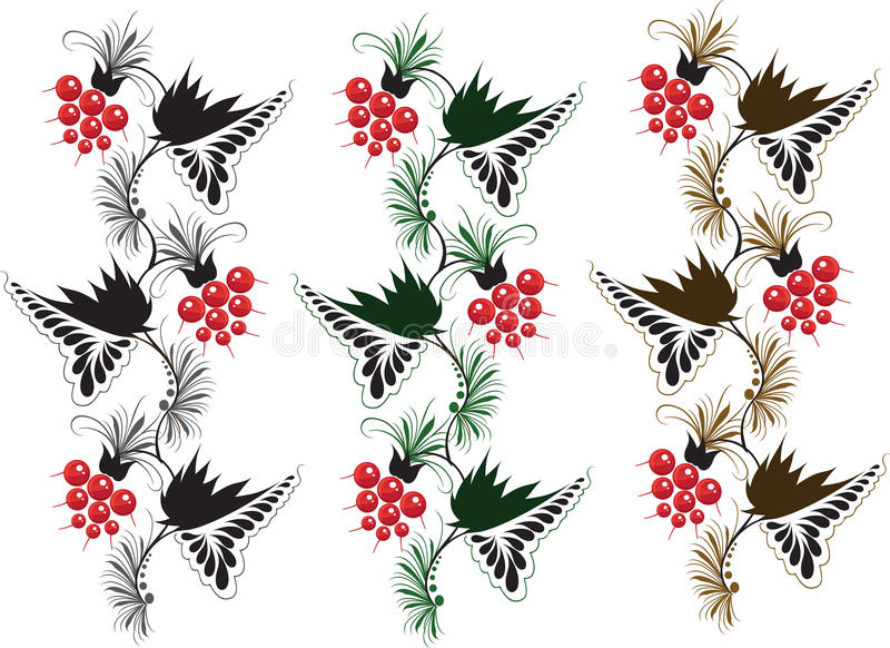 Multicolored delicate ornament from raspberry royalty free stock photo