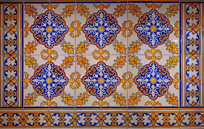 Multicolored designed spanish tile wall, Malaga royalty free stock photos
