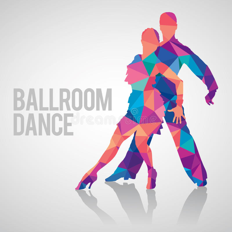 Multicolored detailed vector silhouette of ballroom dancers royalty free stock images