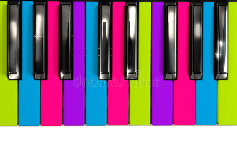 Multicolored Disco Style Piano Keys stock image