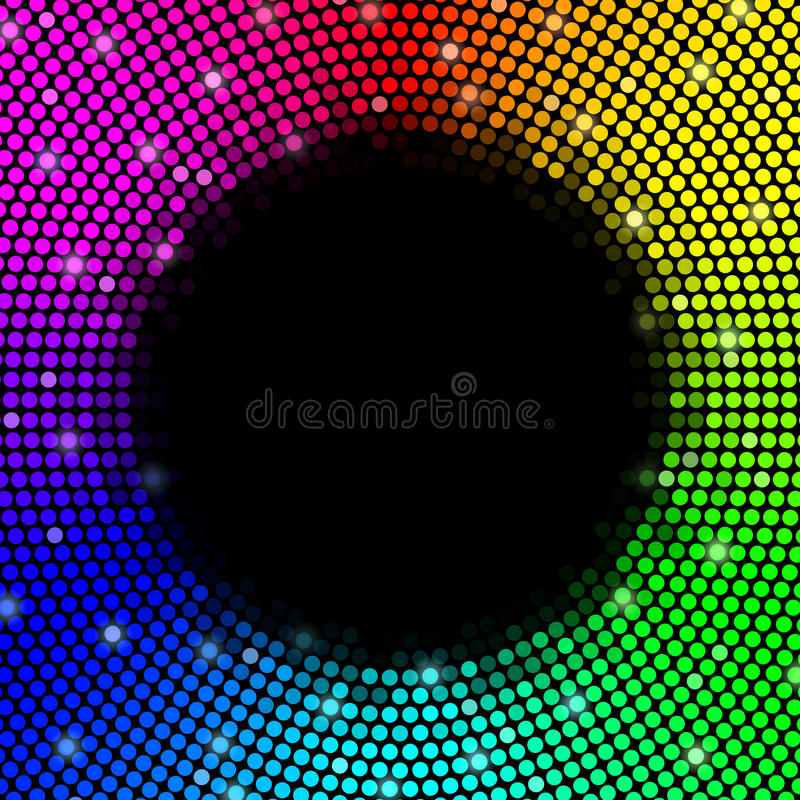 Multicolored dots background, round frame. Vector royalty free illustration