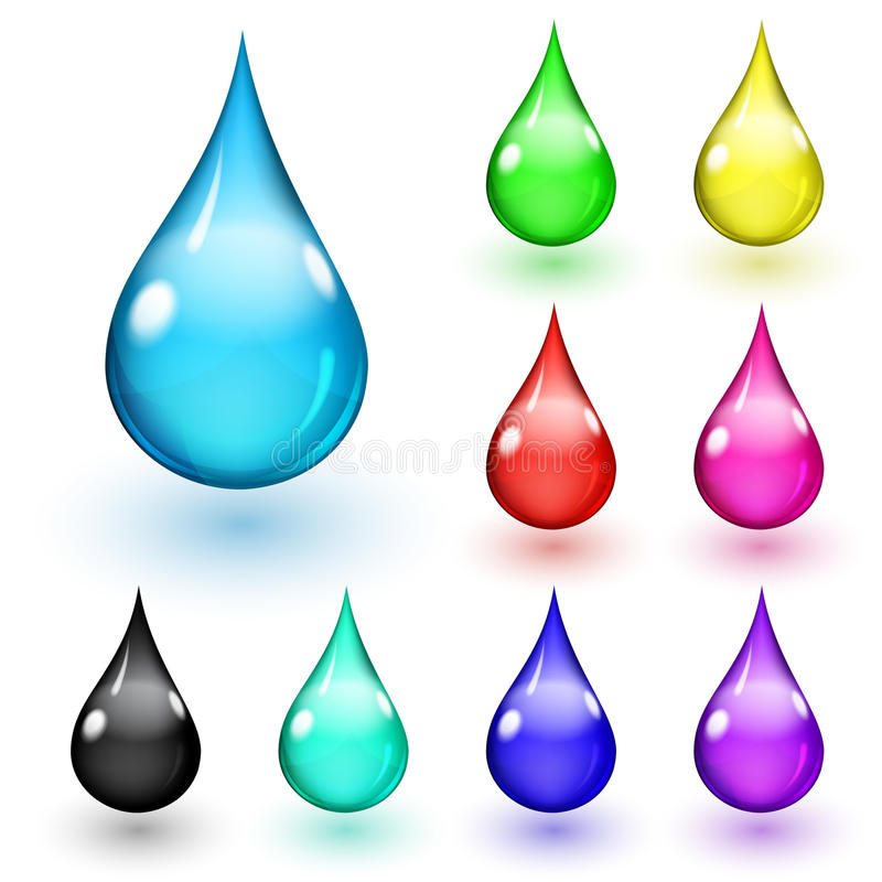 Multicolored drops. Set of multicolored drops with shadows on white background vector illustration