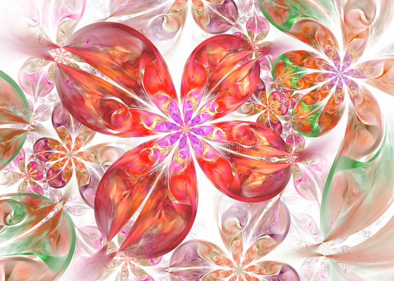 Multicolored Dynamic and flowing natural forms. Abstract fractal Flowers. Beautiful multicolored Dynamic and flowing natural forms. Abstract fractal Flowers vector illustration