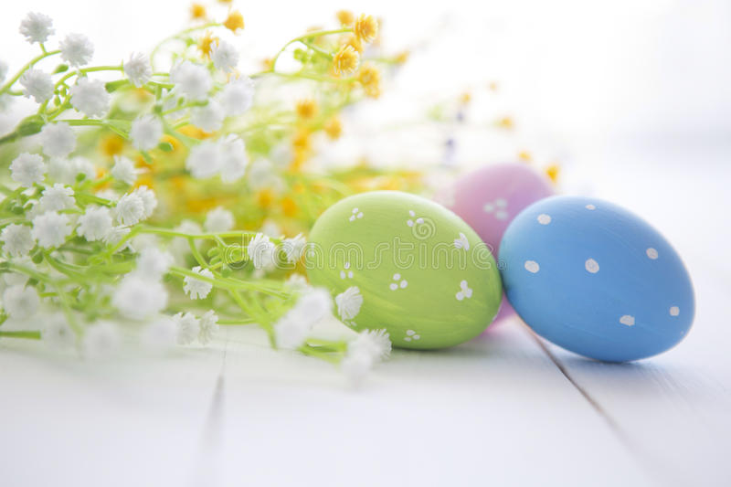 Multicolored Easter eggs in fresh flowers daisy. royalty free stock photography