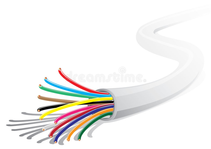 Multicolored electric wire stock vector. Illustration of ...