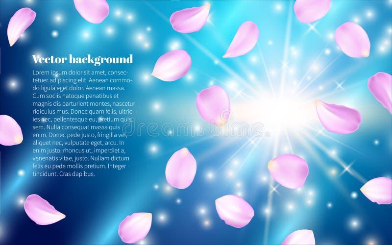 Multicolored en vliegende bloemblaadjes Vage lichten De lenteinzameling Effect Realistische Ontwerpelementen Vector illustratie vector illustratie