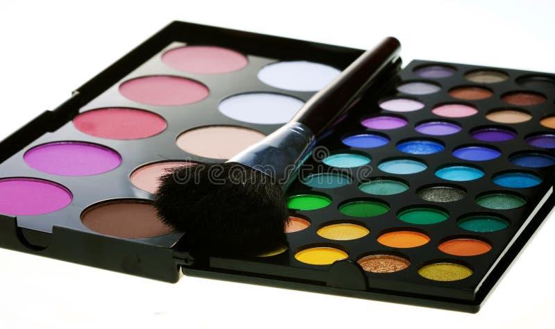 Multicolored eye shadows. With cosmetics brushrr stock photos