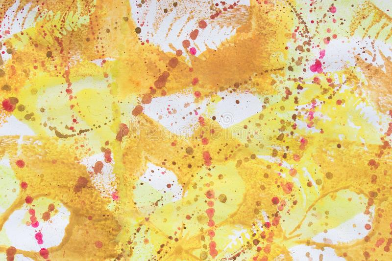 Multicolored fall leaves printed on white paper background. Texture stock photo