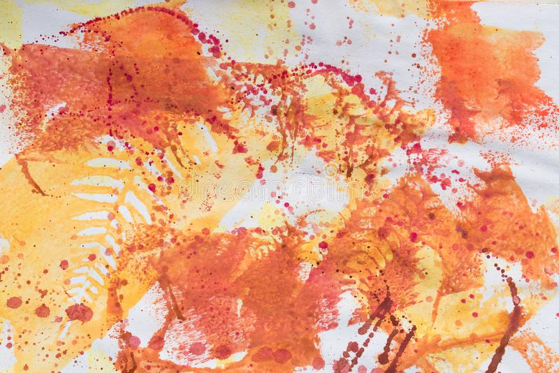 Multicolored fall leaves printed on white paper background. Texture royalty free stock images