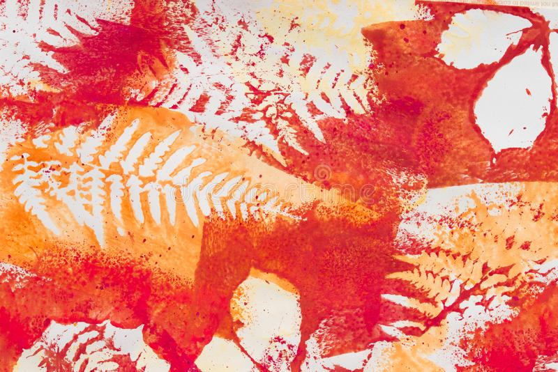 Multicolored fall leaves printed on white paper background. Texture stock images