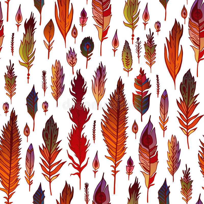 Multicolored feathers seamless pattern. royalty free illustration