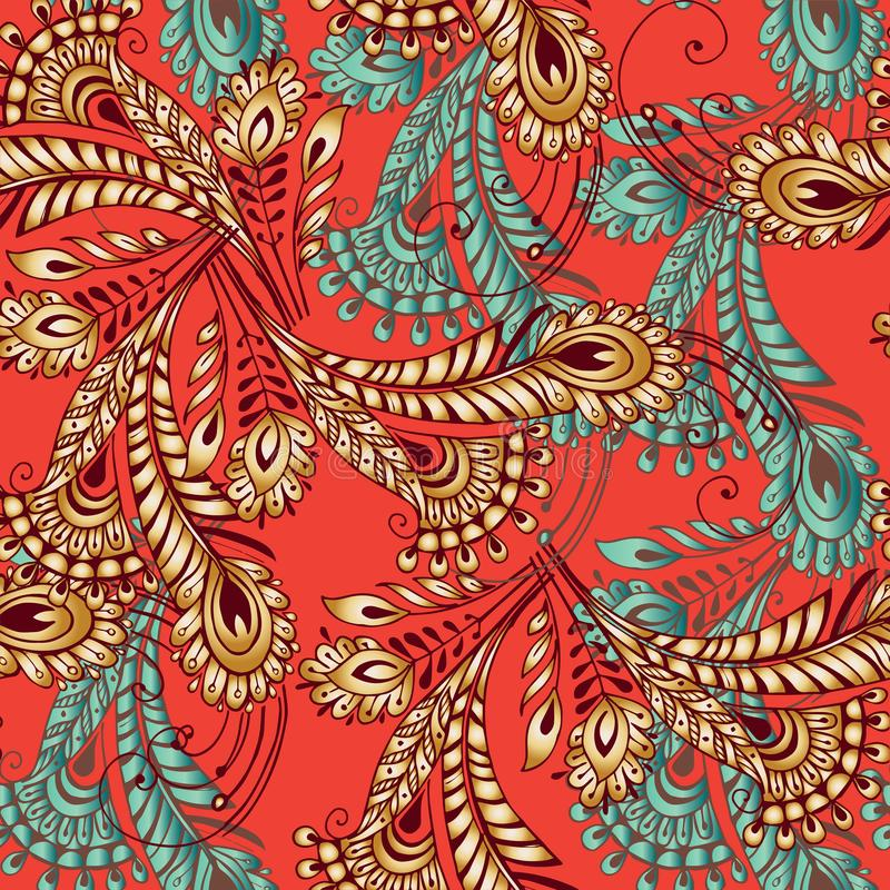 Multicolored feathers seamless pattern in oriental style. Decorative ornament backdrop for fabric, textile, wrapping paper royalty free illustration