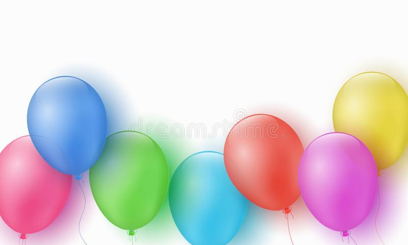 Multicolored feestelijke ballons op een witte achtergrond Gelukkige Verjaardag Explosie De kaart van de groet Malplaatje voor kin stock illustratie