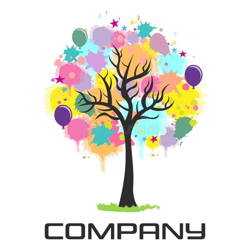 Multicolored feestelijke embleemboom Vector illustratie vector illustratie