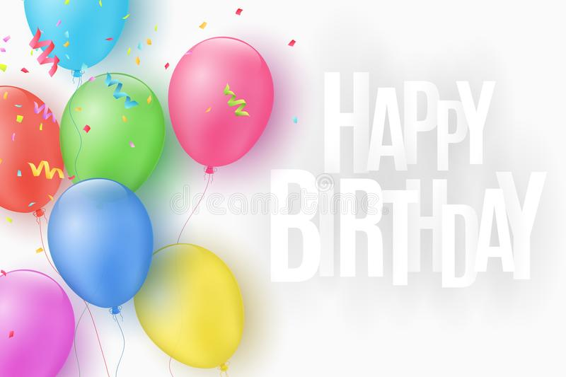 Multicolored festive balloons on a white background. Happy Birthday. Explosion of confetti. Greeting card. Paper 3d inscription. C. Haotic white letters. Vector stock illustration