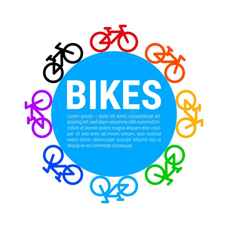 Multicolored Fietspictogrammen en Blue Circle-Achtergrond Vector illustratie stock illustratie