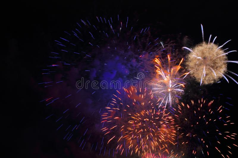 Multicolored Firework. Colored firework background with free copy space for text. Colorful celebration concept for your design stock photo