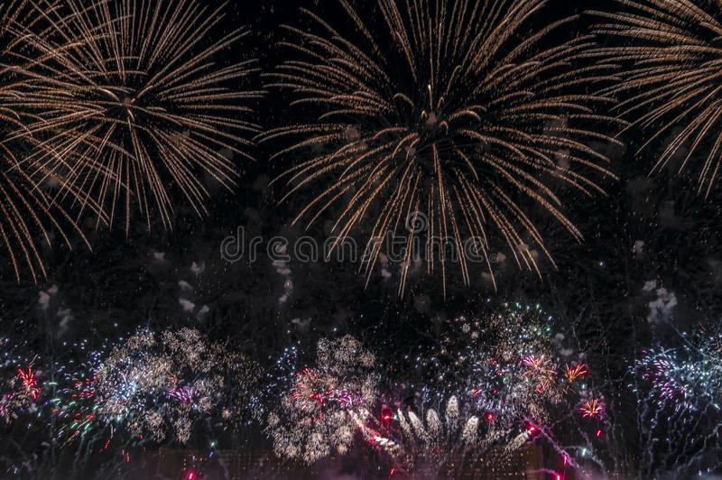 Multicolored Fireworks on black background for cut out. For celebration design. Abstract holiday firework display background. royalty free stock photos