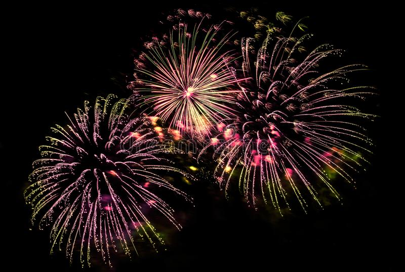 Multicolored fireworks display royalty free stock images