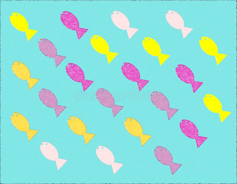MULTICOLORED FISH SHAPE SIMPLE BACKGROUND. MULTICOLORED FISH SHAPE. SIMPLE BACKGROUND WITH BLUE COLORED BACKGROUND WALLPAPER vector illustration